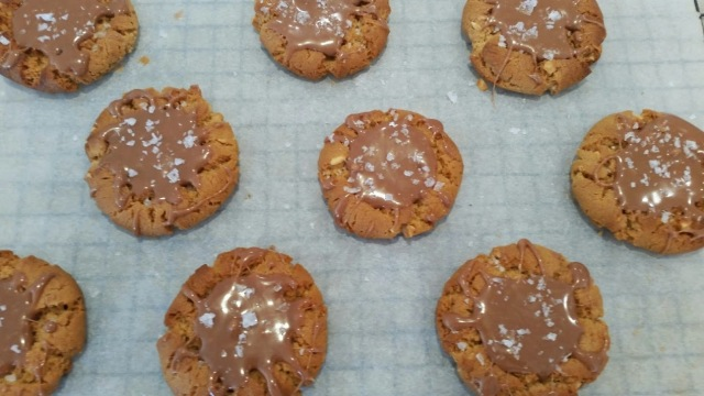 Salted Caramel Topped Peanut Butter Cookies