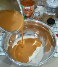 Pumpkin Donut Hole Mixing