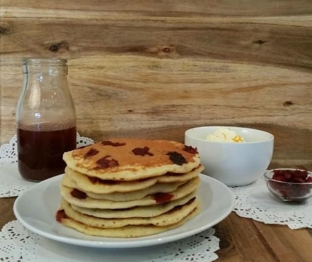 Leftover Cranbery Sauce Pancakes with Orange Whipped Cream | www.whiskeyandchanel.com