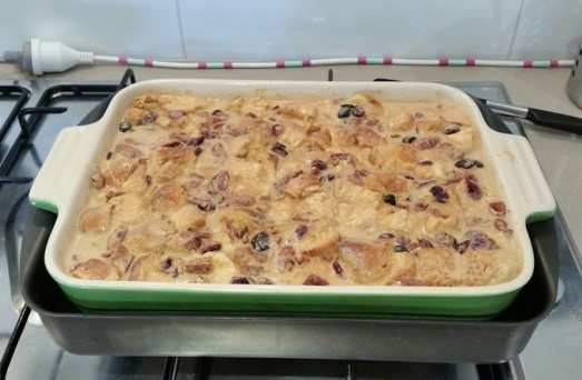 Thanksgiving Pumpkin Bread Pudding with Cranberries and Pecans Recipe | www.whiskeyandchanel.com